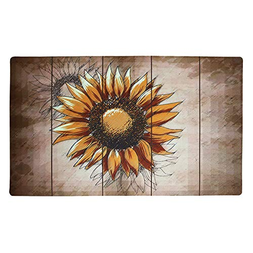 YK Decor Sunflower Welcome Door Mat Outdoor Indoor Enty Floor Mat Entrance Rug Non Slip Rubber Doormat 29x17 inch