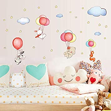 JQSM Cartoon DIY Animal Balloons Cloud Wall Stickers Elephant Rabbit Fox  Stars Room Decor Baby...