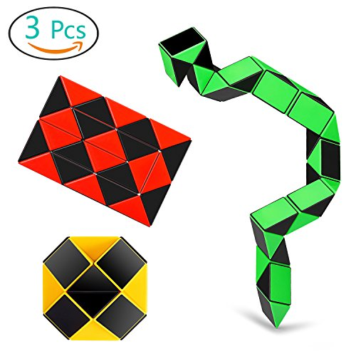 Speed Cube Snake Ruler Cube Puzzle Pack | 24 Wedges Twist Puzzle Toys | 3 Magic Snake Cubes Collection in 1 Box | Stickerless Cube (Convex Wedge)