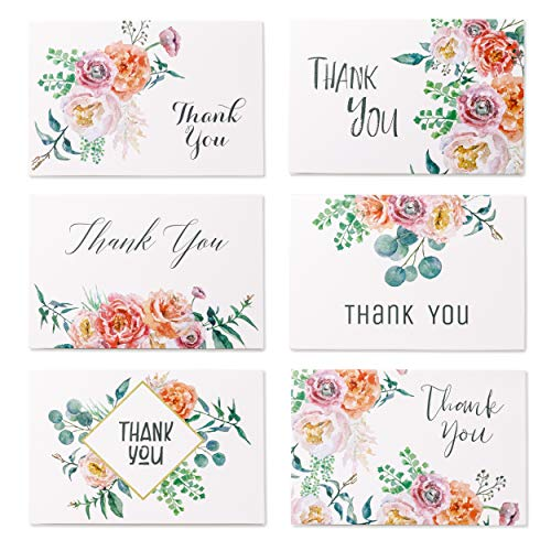 (Floral Thank You Card Set with Round Stickers | 48 Pcs Bulk Thank You Note Pack with Self Adhesive Envelopes | 4 x 6 Inches Assorted Colors with 6 Unique Designs for Wedding, Baby Shower, Business)