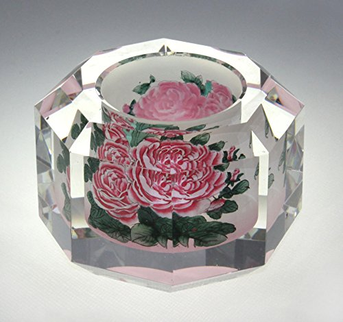 Pink Roses Crystal Paperweight - Hand Painted Art Glass Desktop (Hand Painted Paperweight)