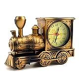 Mismxc Train Alarm Clock of Luxury Retro Style, Creative Artistic Train Desk Clock Model for Household Shelf Decorations, Unique Eye-Catching Exquisite Alarm Clock (Bronze)