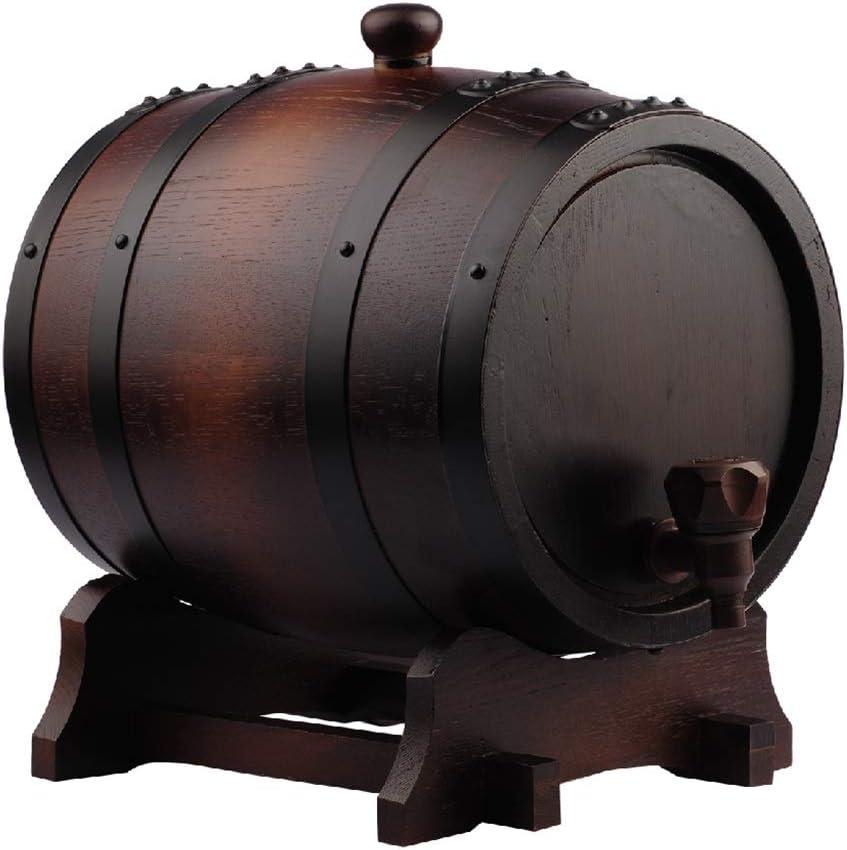 WYDM Barriles de Roble de 15 litros, recipientes de elaboración de Cerveza, dispensadores de Vino Tinto sin vesícula biliar, barriles de decoración para el hogar (Capacidad : 15L)