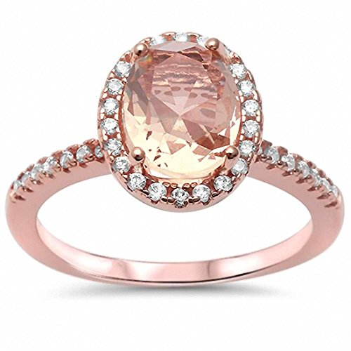 Solitaire Engagement Ring Halo Oval Simulated Morganite Round CZ Rose Tone 925 Sterling Silver , Size-5