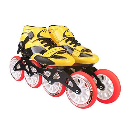 残り適格拮抗するLIUXUEPING ローラースケート、 プロのスピードスケートシューズ、   大人の子供たちのスケート、   インラインスケート、 ビッグホイールレーシングシューズ (色 : イエロー いえろ゜, サイズ さいず : 42)