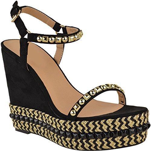Heelberry® Ladies Womens Wedge Espadrilles Studded Sandals Strappy Party Platform Shoe Size Black Faux Suede sJgoO