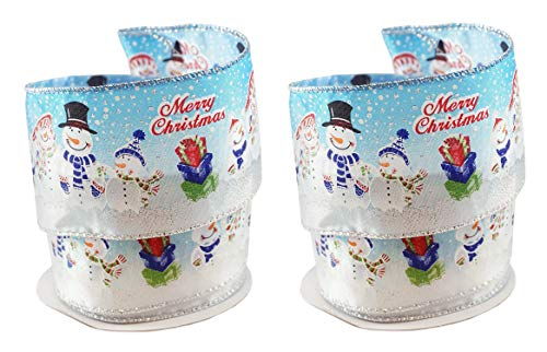 Snowman Family Merry Christmas Fabric Wired Ribbon #40-2.5