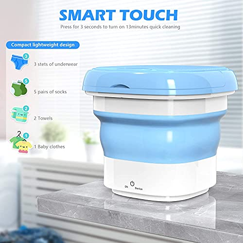 Deoxys Portable Washing Machine, Mini Foldable Washing Machine with Handle,Ozone Sterilization,Ultrasonic Cleaning Machine, Small Automatic Underwear Folding Washing Machine Laundry Capacity 51pQcUKsA S India 2021