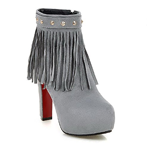 Women's Heels Toe Boots Closed AalarDom Gray Top High Round Zipper Low Fringed SxqTgd