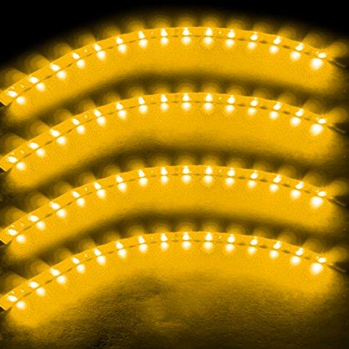 Zento Deals 30cm Yellow LED Car Flexible Waterproof Light Strip (Pack of 4)