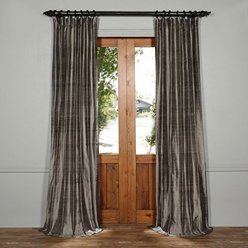 DIS-ID1673-96 Textured Dupioni Silk Curtain, Turbulence Grey, 50 x 96