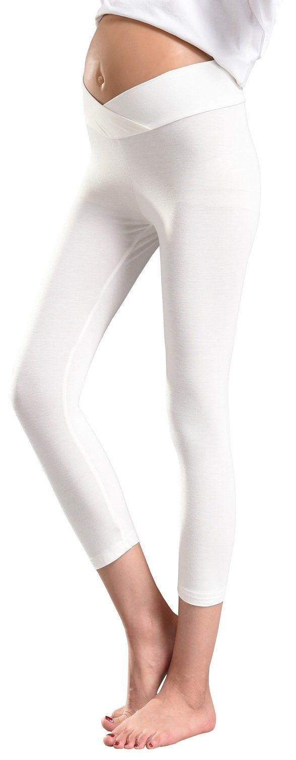 d4dccbe58dcb4 Foucome Women's Maternity Capri Legging Under The Belly White