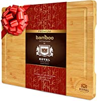 Organic Bamboo Cutting Board with Juice Groove - Kitchen Chopping Board for Meat (Butcher Block) Cheese and Vegetables