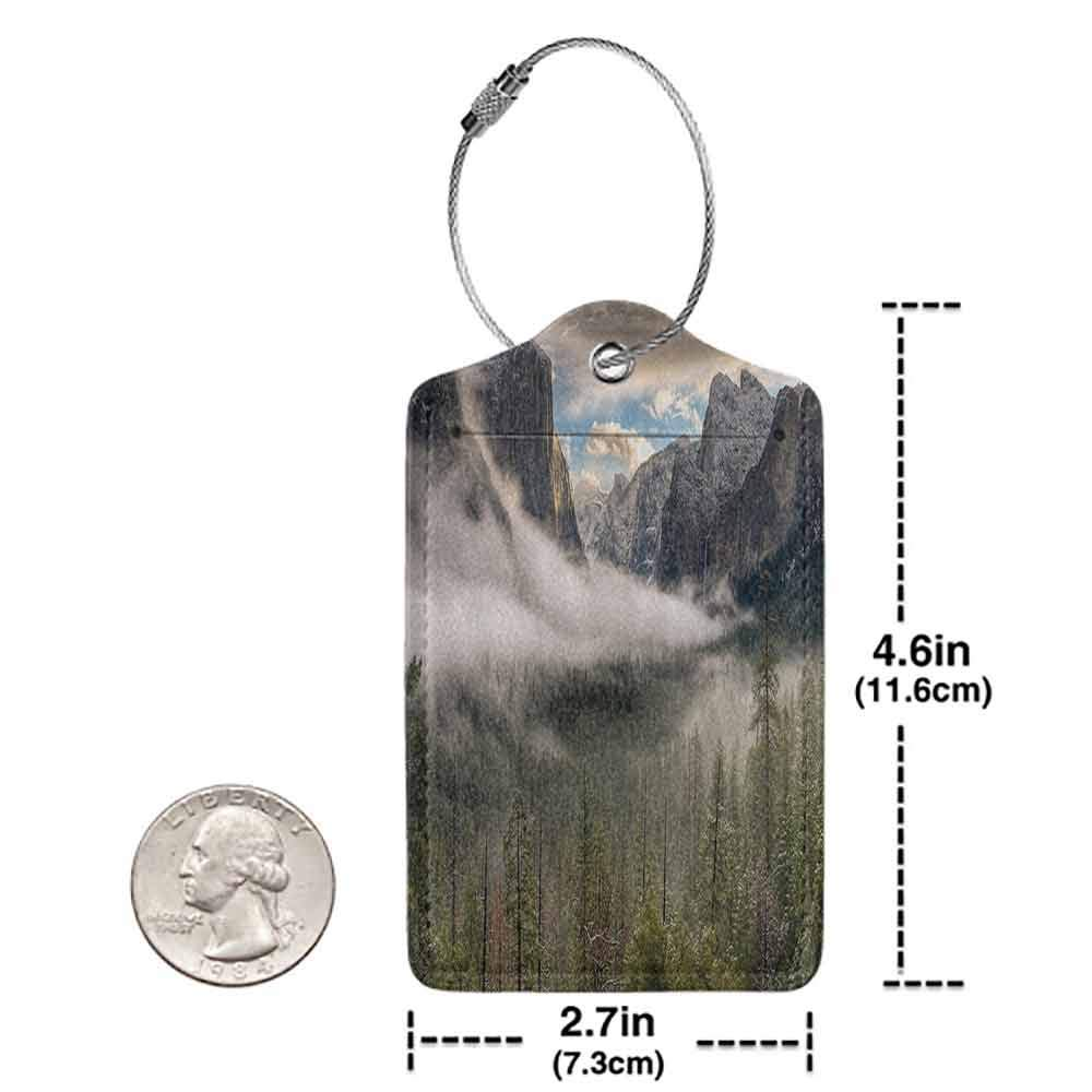 Durable luggage tag Country Decor Collection Sun Peaks Over the Sierras for Its First Glimpse of the Yosemite Valley in a Misty Morning Unisex Green W2.7 x L4.6