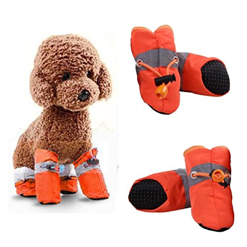Pack of 4 Dog Boots Waterproof Anti-Slip Protective Shoes Pet Set Reflective All Weather Paw Protector (Orange)