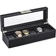 Watch Box for Men - 6 Slot Luxury Carbon Fiber Design Mens Display Case, Large Holder,Metal Buckle -Black