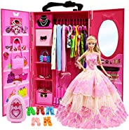 ZITA ELEMENT Doll Closet Wardrobe for 11.5 Inch Girl Doll Clothes and Accessories Storage - Lot 101 Items Incl