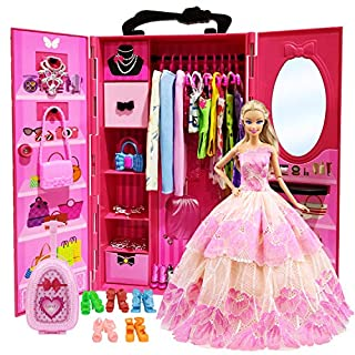 ZITA ELEMENT Doll Closet Wardrobe for 11.5 Inch Girl Doll Clothes and Accessories Storage - Lot 101 Items Including Wardrobe, Trunk, Casual Wear, Dress, Swimsuits, Hangers, Shoes, Bags and Necklaces