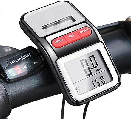bomeon bicicleta Velocímetro LCD multifunción de energía solar ...