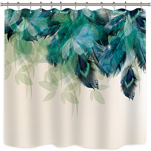 (Riyidecor Watercolor Peacock Feather Shower Curtain Teal Blue Turquoise Floral Green Leaf Bathroom Home Decor Set Panel Fabric Woman Waterproof Bathtub 72x72 Inch Included 12 Pack Plastic Shower Hook)