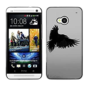Design for Girls Plastic Cover Case FOR HTC One M7 Raven Death Deep Writing Nature Bird OBBA
