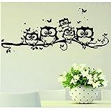 Ussore Vinyl Art Decal Cartoon Owl Butterfly Wall Sticker Decor Home Decal For Kids Home living room bedroom bathroom kitchen Office Wallpaper