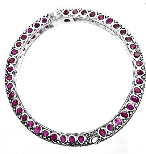 Faceted Gemstone Bangle with Marcasite - Sterling Silver - Color Ruby (Silver Ruby Bangles)