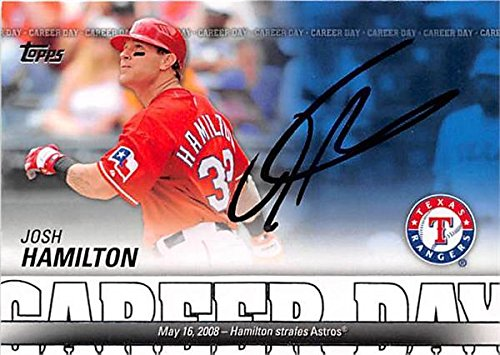 Josh Hamilton autographed baseball card (Texas Rangers OF) 2012 Topps #CD20 Career Day Insert - Baseball Slabbed Autographed Cards
