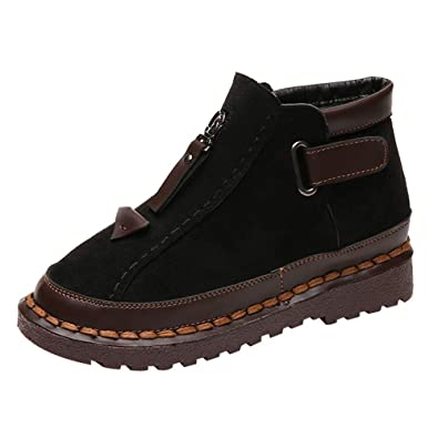 BaZhaHei British Style Retro Boots Round Toe Chelsea Boots Women s  Thick-Soled Shoes Colorblock Loafers 4009ff8b9