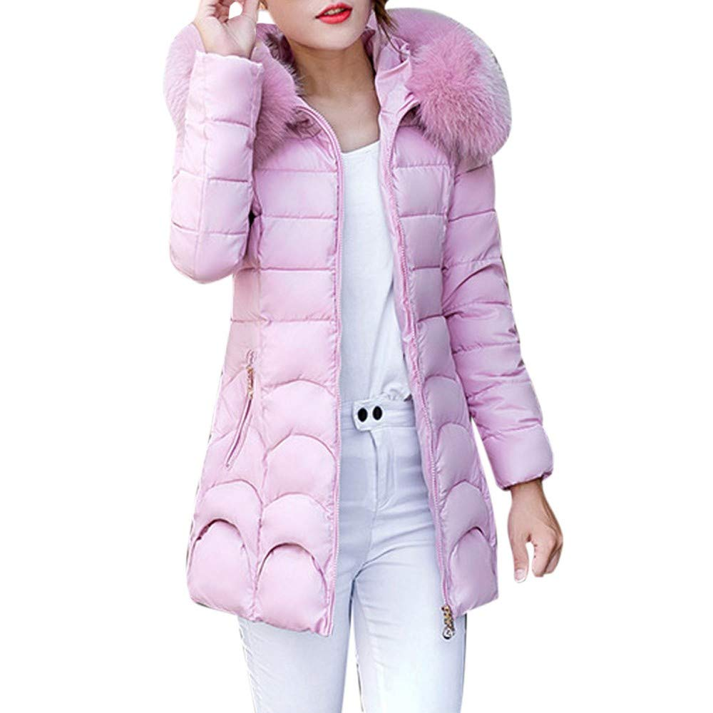 CHIDY Womens Hooded Outwear Warm Coat Thicken Faux Fur Hood Cotton Parka Slim Fit Mid-Long Down Jacket (Medium,Pink) by CHIDY