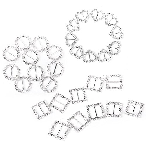 Crystal Slider Hole 2 - Craft Shapes - 30pcs Heart Round Square Shape Ribbon Buckle Sliders Wedding Card Invitation Favor - Buckle Foam Kids Slider States Wooden Craft Shapes Paint