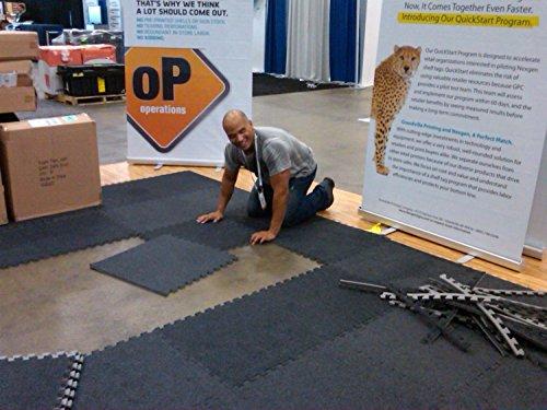 Incstores Eco-Soft Carpet Foam Tiles (25 Tiles, Dark Grey, With Wheeled Soft Case) Portable Trade Show Flooring, Exercise Mats & Light Duty Carpet Top Gym Flooring …