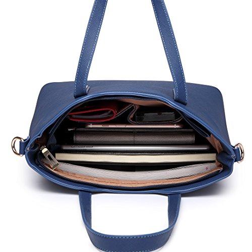 Miss LuLu Damen Handtaschenset Leder Schultertasche Shopper Hobo Totes Umhängetaschen Beuteltote (LT6648-Dunkelblau)