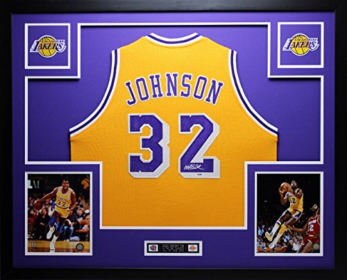Signed Authentic Lakers Gold Jersey (Magic Johnson Autographed Gold Lakers Jersey - Beautifully Matted and Framed - Hand Signed By Magic Johnson and Certified Authentic by PSA COA - Includes Certificate of Authenticity)