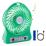Ehomely USB handheld Mini Misting Fan Personal Cooling Humidifier Portable Air Conditioner With Rrechargeable Battery, Heat Stroke Prevention (s/green)