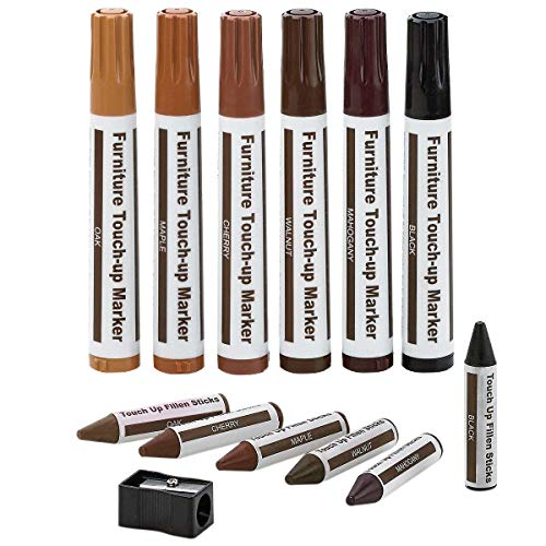 - Furniture Repair Kit Wood Markers - Set Of 13 - Markers And Wax Sticks With Sharpener Kit, For Stains, Scratches, Wood Floors, Tables, Desks, Carpenters, Bedposts, Touch Ups, And Cover Ups- By Katzco