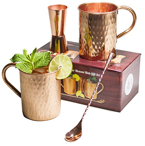 [Gift Set] Moscow Mule Copper Mugs 100% Pure Copper (No Nickel Interior) Moscow Mule Gift Set Includes Two 16 Oz. Pure Copper Hammered Mugs – Double Sided Copper Shot Pourer – Copper Stir Spoon -