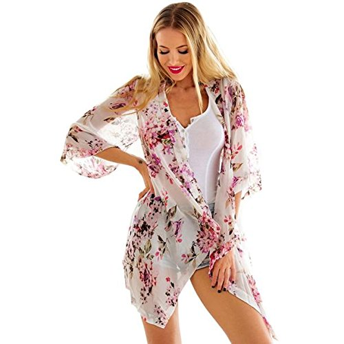 DEELIN Women Boho Printed Chiffon Loose Shawl Kimono Cardigan Tops Cover up Blouse (S,