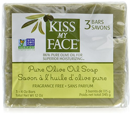 Kiss My Face Pure Olive Oil Bar Soap 4 Ounces (Pack of 3) (Olive Oil Salt Face)