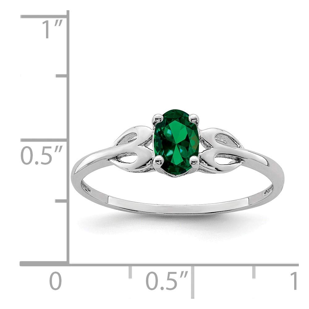 Sterling Silver 2 MM Created Emerald May Birthstone Ring