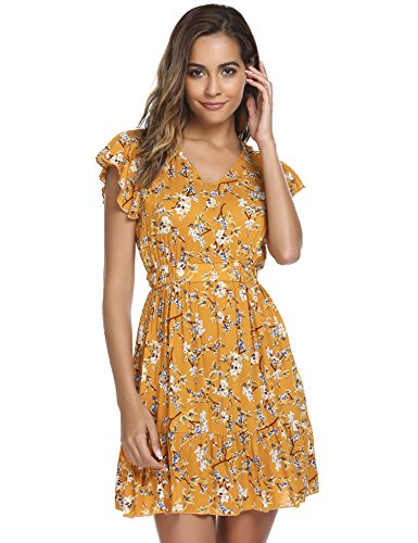 Zeagoo Women's Casual Fit and Flare Floral Ruffle Sleeve Party Skater Dress,XL (Country Floral Dress)