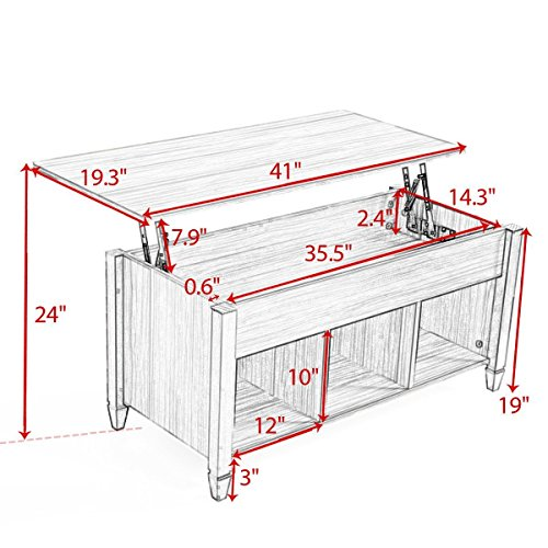 Coffee Table With Adjustable Height Lift Top: JAXPETY Lift Top Coffee Table Adjustable Height Storage