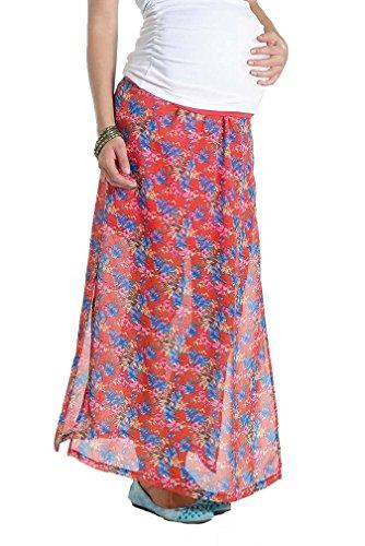 Lilac Layered Maternity Maxi Skirt - Coral/Blue Floral Chiffon - Large