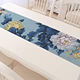 ASIBG Home Cotton linen table runner-Chinese-Asian tea tea Chinese tea table runners-and-ink Lotus,S,30×180cm