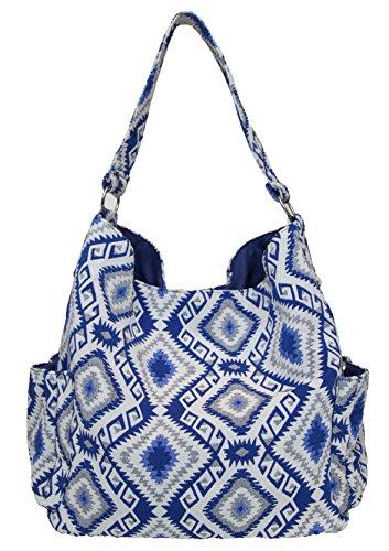 Carolina Sweethearts Woven Fabric Blue IKAT Shoulder Fashion Handbag Tote Bag With Magnetic Closure