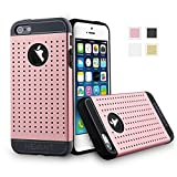 HEVANT iPhone 5s Case, iPhone 5 Metal plate rubber case,TPU case+Metal plate case(Pink)