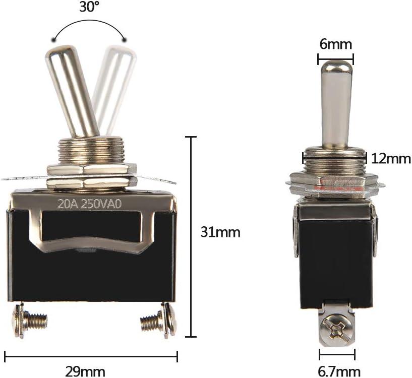 20A 125V 5 St/ück Kippschalter 2-Pin SPST Wippschalter 15A 250V