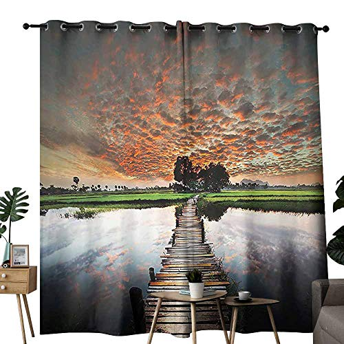 duommhome Apartment Decor Collection Polyester Curtain Old Boardwalk on Tropical River to The Fresh Meadow in The Dusk Burma Myanmar Noise Reduction soundproof Curtain W96 xL84 Green Grey Orange