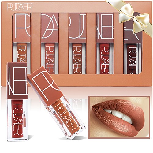 5 Colors Matte Lipstick Set, PrettyDiva Long Lasting Velvet Liquid Lipstick Natural Waterproof Nude Sexy Lip Gloss Cosmetics Kit