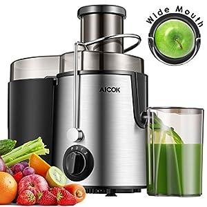 Aicok Centrifuga, Estrattore di Succo a Freddo, Estrattore Frutta e Verdura, 2 Contenitori e Spazzola per Succo più Nutriente, Funzione Anti-Intasamenti, Acciaio Inox - 2020 -